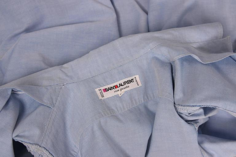 1970's Yves Saint Laurent YSL Chambray Button Down Shirt Blouse For Sale 1