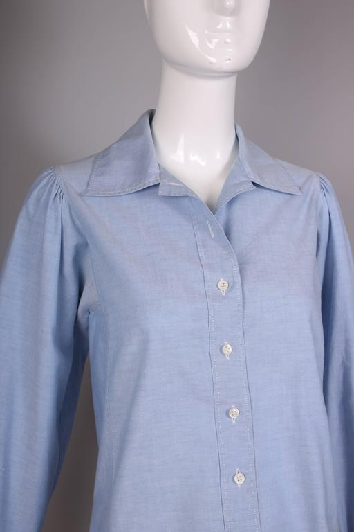 1970's Yves Saint Laurent YSL Chambray Button Down Shirt Blouse In Excellent Condition For Sale In Los Angeles, CA