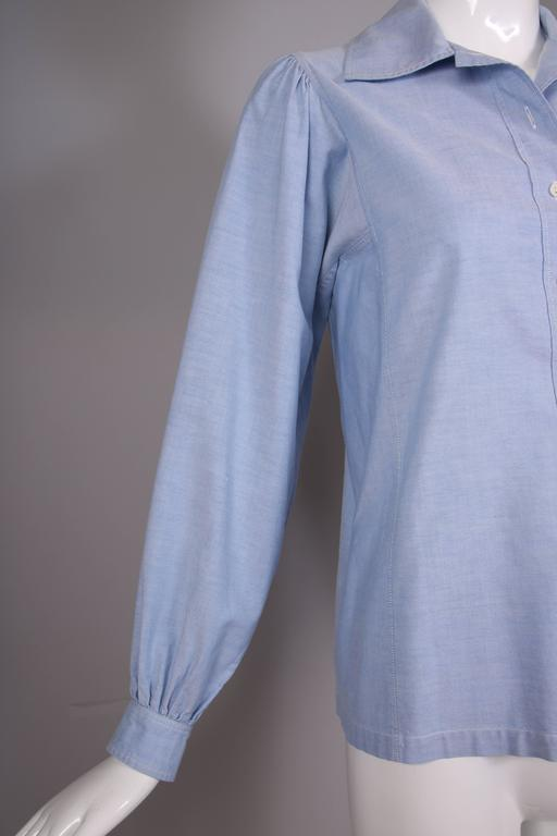 Women's 1970's Yves Saint Laurent YSL Chambray Button Down Shirt Blouse For Sale