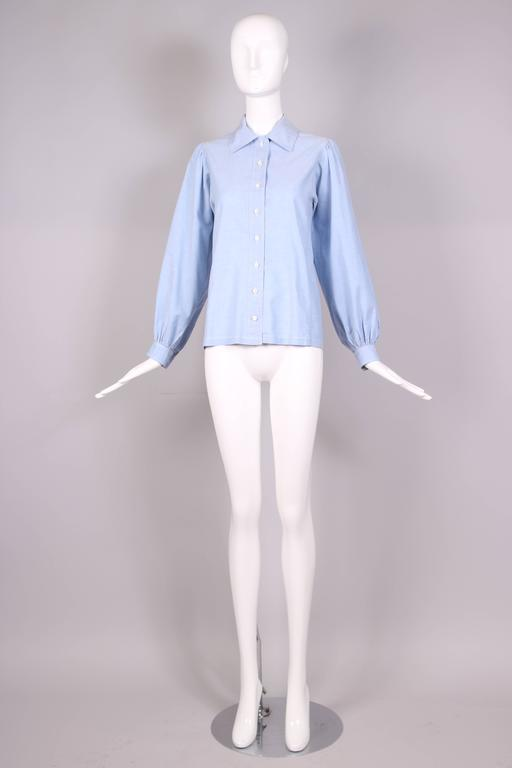 Blue 1970's Yves Saint Laurent YSL Chambray Button Down Shirt Blouse For Sale
