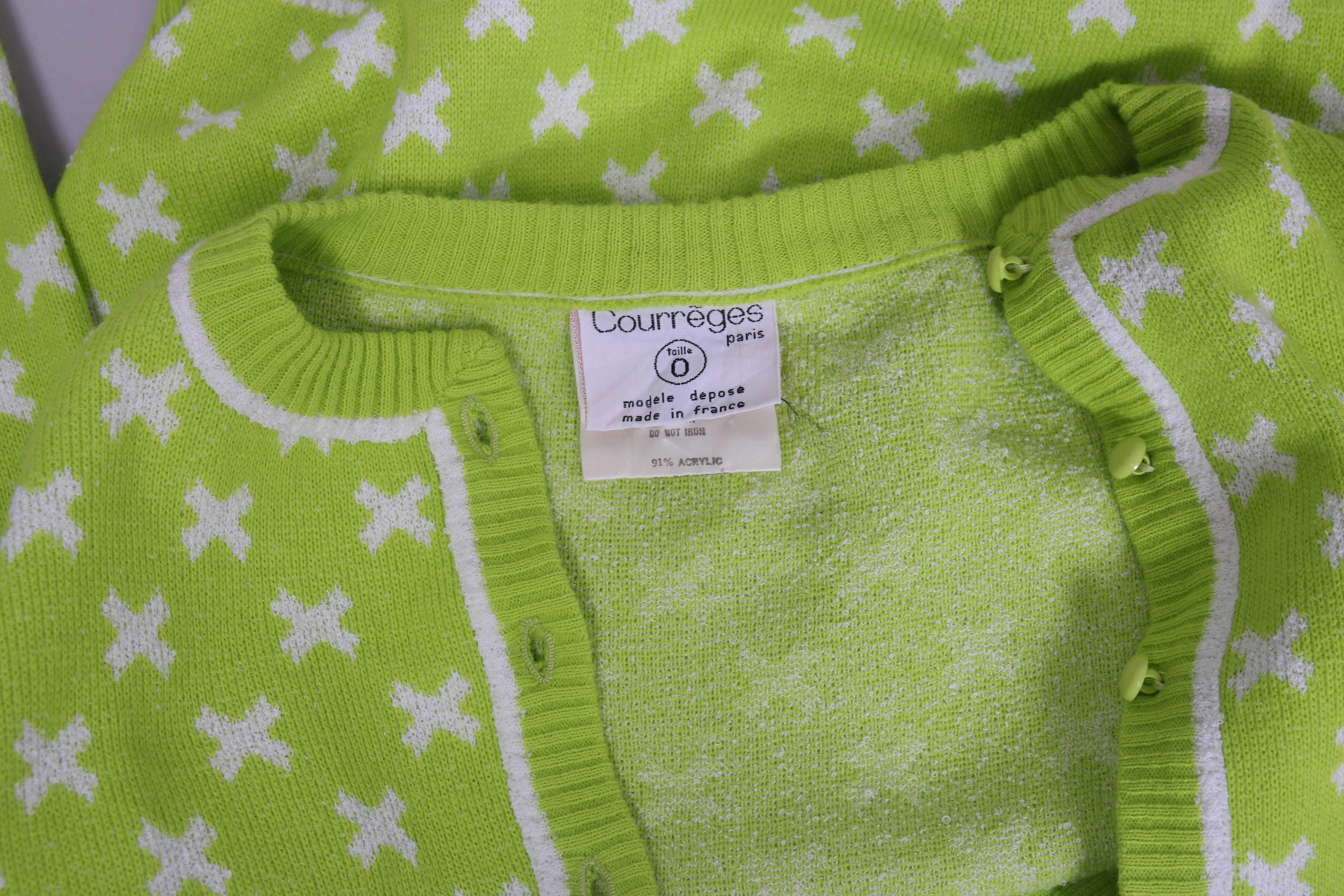 Vintage Courreges Lime Green Knit Cardigan Sweater W White