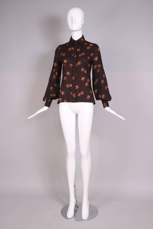 Black 1970s Valentino Brown Acorn Print Blouse For Sale