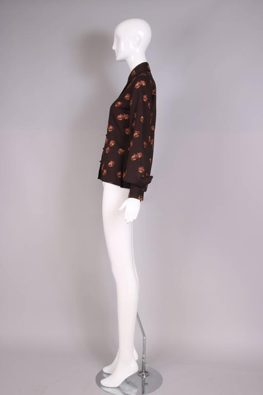 1970s Valentino Brown Acorn Print Blouse In Excellent Condition For Sale In Los Angeles, CA
