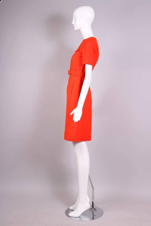 1970's Courreges Haute Couture Orange Wool Short Sleeved Day Dress No.53599 In Excellent Condition For Sale In Los Angeles, CA