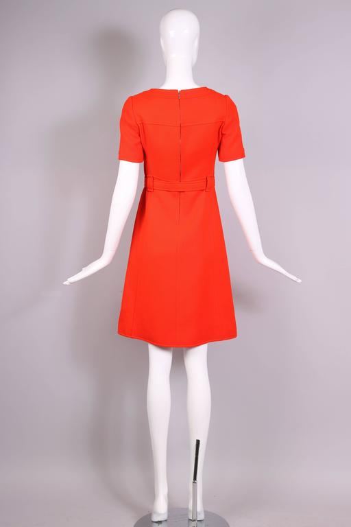 Women's 1970's Courreges Haute Couture Orange Wool Short Sleeved Day Dress No.53599 For Sale