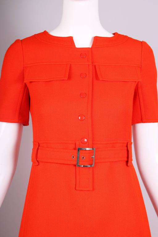 1970's Courreges Haute Couture Orange Wool Short Sleeved Day Dress No.53599 For Sale 1