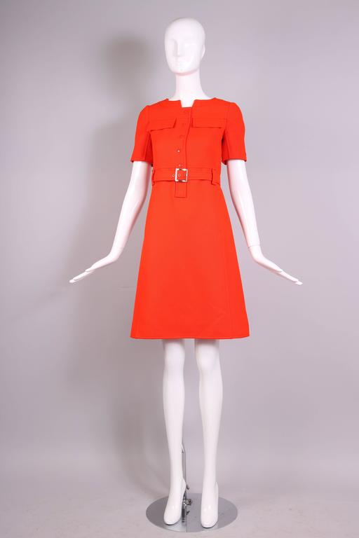 Red 1970's Courreges Haute Couture Orange Wool Short Sleeved Day Dress No.53599 For Sale