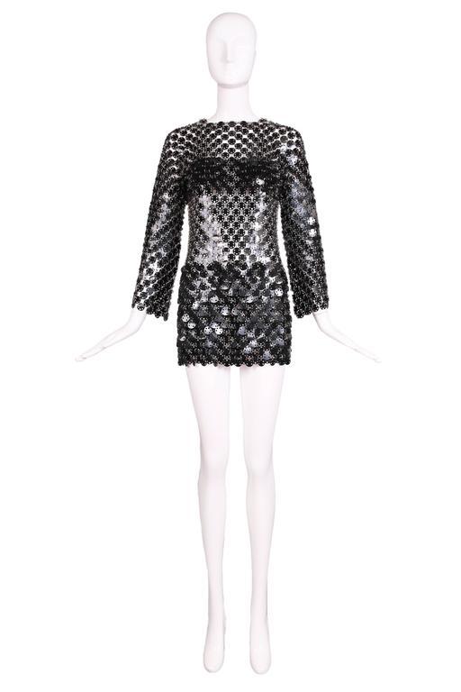 1969 Paco Rabanne Black Rhodoid Disc Mini Dress 2