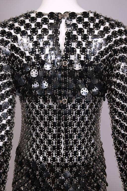 1969 Paco Rabanne Black Rhodoid Disc Mini Dress For Sale 4