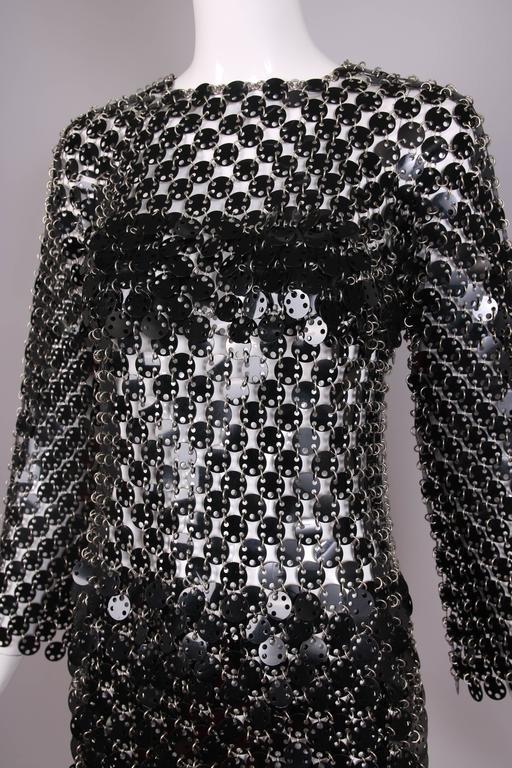 1969 Paco Rabanne Black Rhodoid Disc Mini Dress 6