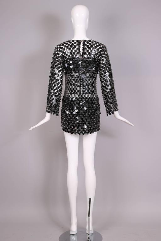 1969 Paco Rabanne Black Rhodoid Disc Mini Dress For Sale 1