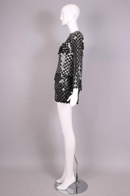 Women's 1969 Paco Rabanne Black Rhodoid Disc Mini Dress For Sale