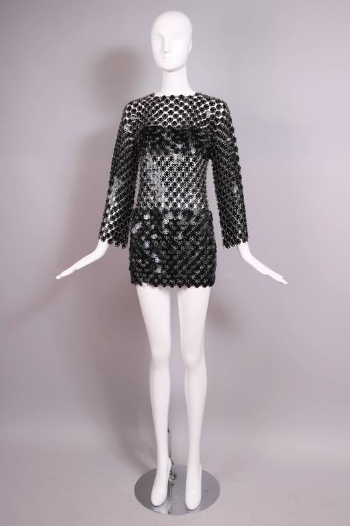 1969 Paco Rabanne Black Rhodoid Disc Mini Dress In Excellent Condition For Sale In Los Angeles, CA