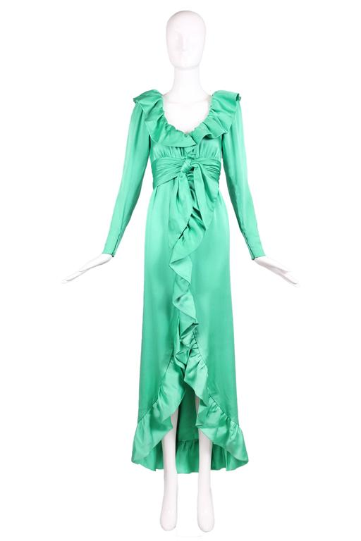 Givenchy Haute Couture Sea Foam Green Silk Gown W Ruffle