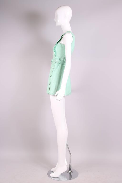 1970's Courreges Aqua Blue Vinyl Mini Pinafore Dress  4