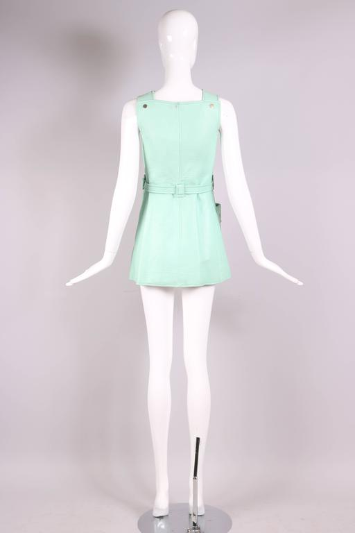 1970's Courreges Aqua Blue Vinyl Mini Pinafore Dress  5