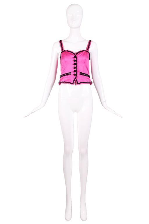 Vintage Yves Saint Laurent YSL Pink Bustier W/ Black Trim & Black Button Detail 2