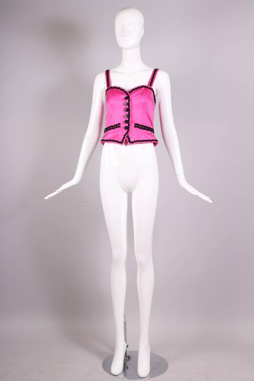 Vintage Yves Saint Laurent YSL Pink Bustier W/ Black Trim & Black Button Detail In Excellent Condition For Sale In Los Angeles, CA