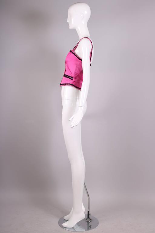 Women's Vintage Yves Saint Laurent YSL Pink Bustier W/ Black Trim & Black Button Detail For Sale
