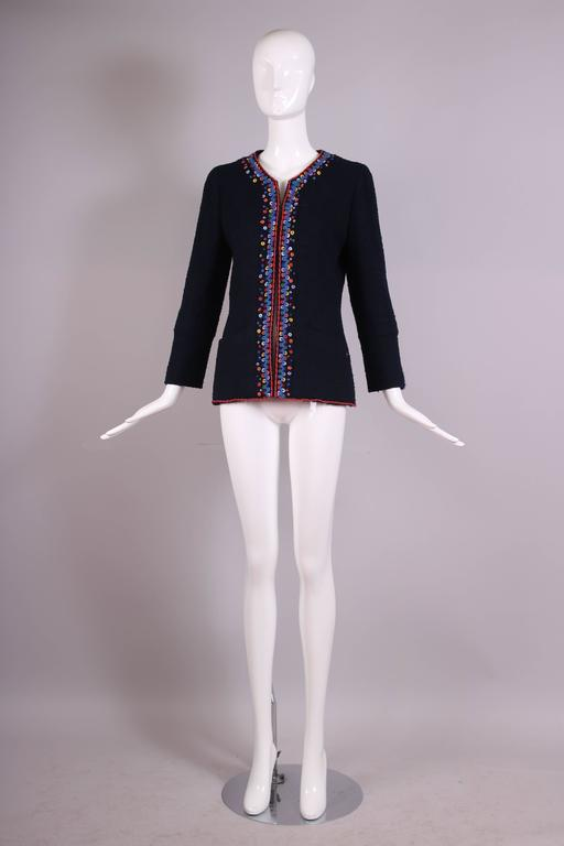 Black 1997 Chanel Navy Blue Wool Boucle Cardigan Jacket W/ Multi-Colored Stitched Trim For Sale