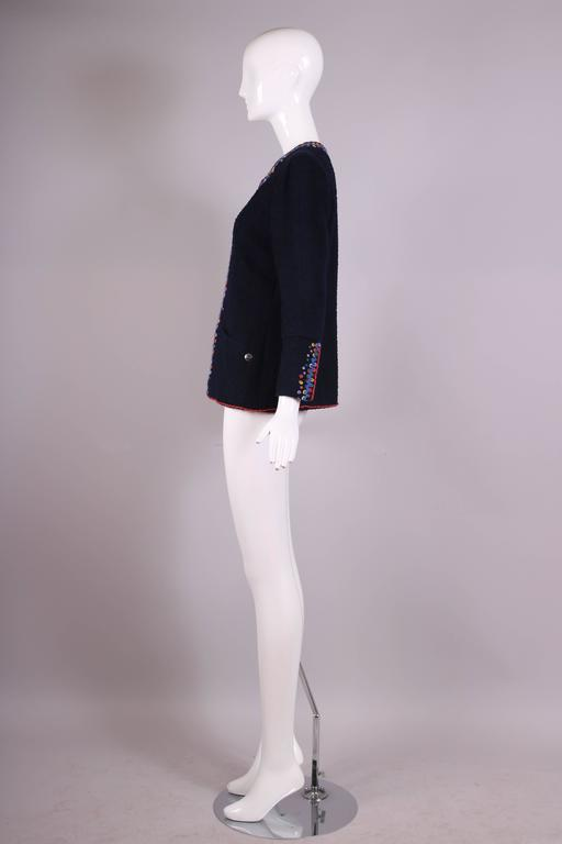 1997 Chanel Navy Blue Wool Boucle Cardigan Jacket W/ Multi-Colored Stitched Trim In Excellent Condition For Sale In Los Angeles, CA
