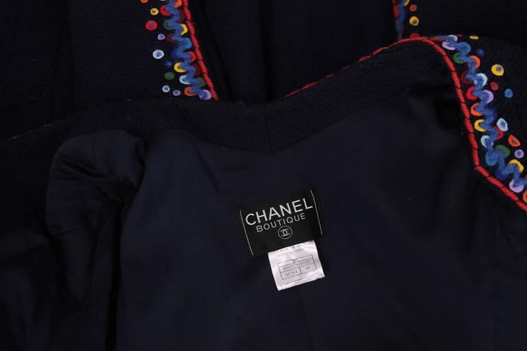 1997 Chanel Navy Blue Wool Boucle Cardigan Jacket W/ Multi-Colored Stitched Trim For Sale 3