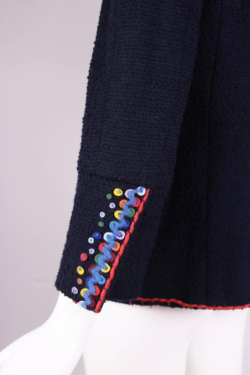 1997 Chanel Navy Blue Wool Boucle Cardigan Jacket W/ Multi-Colored Stitched Trim For Sale 1