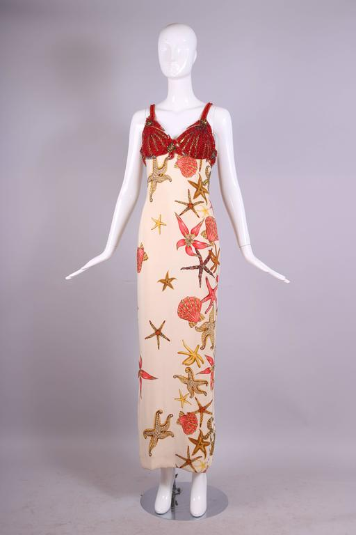 1992 S/S Versace Silk Starfish & Seashell Themed Evening Gown W/Beaded Bustier In Excellent Condition For Sale In Los Angeles, CA