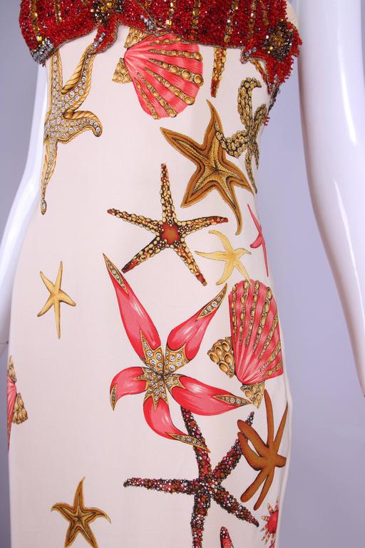 1992 S/S Versace Silk Starfish & Seashell Themed Evening Gown W/Beaded Bustier For Sale 1