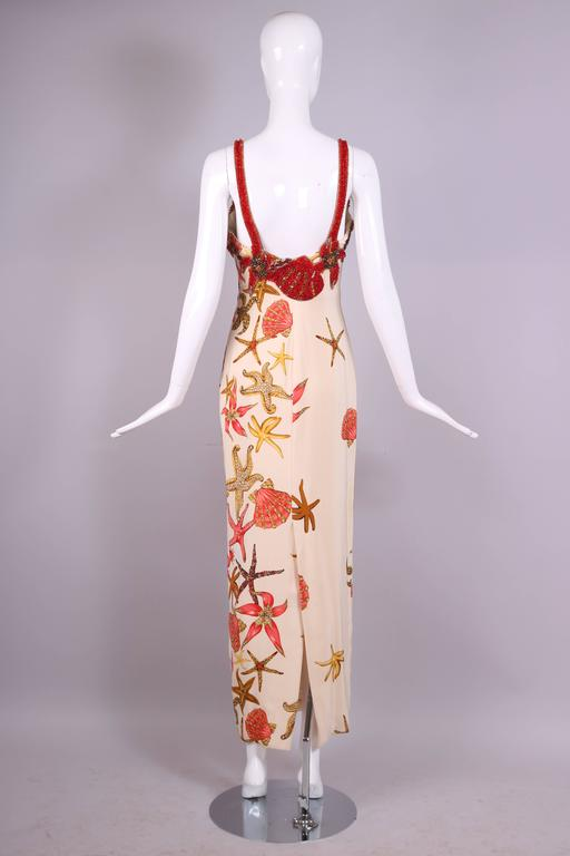 1992 S/S Versace Silk Starfish & Seashell Themed Evening Gown W/Beaded Bustier For Sale 3