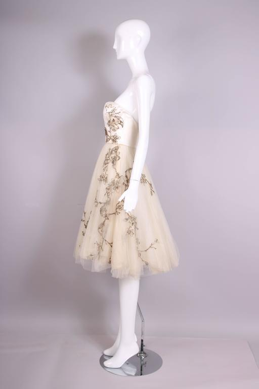 2006 Alexander McQueen Strapless Embroidered Gown w/Golden Flowers & Birds 4
