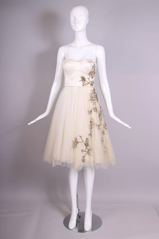 2006 Alexander McQueen Strapless Embroidered Gown w/Golden Flowers & Birds 3