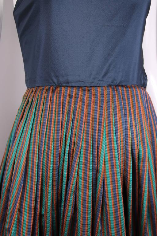 1983 Madame Gres Blue Striped Taffeta Cocktail Dress W/Cropped Cape For Sale 4