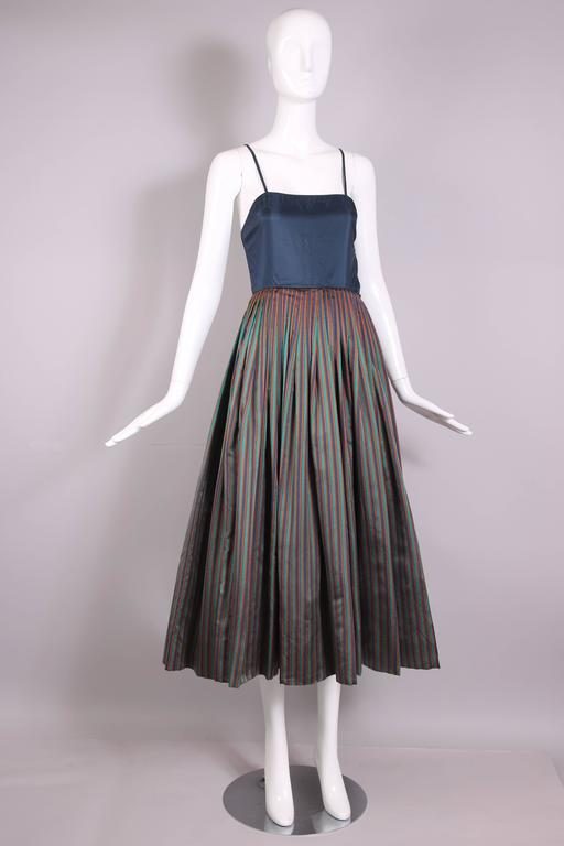 1983 Madame Gres Blue Striped Taffeta Cocktail Dress W/Cropped Cape In Excellent Condition For Sale In Los Angeles, CA