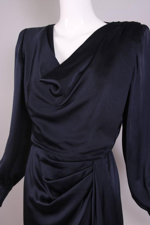 Vintage Givenchy Haute Couture Midnight Blue Silk Faux Wrap Dress No. 78026 6