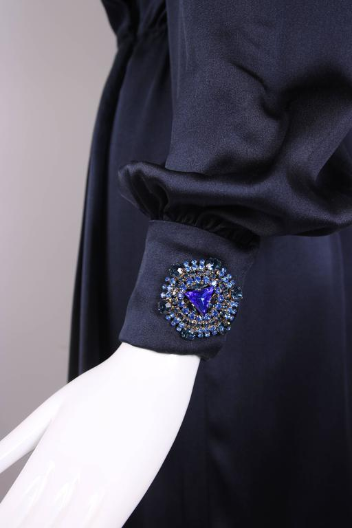 Vintage Givenchy Haute Couture Midnight Blue Silk Faux Wrap Dress No. 78026 7