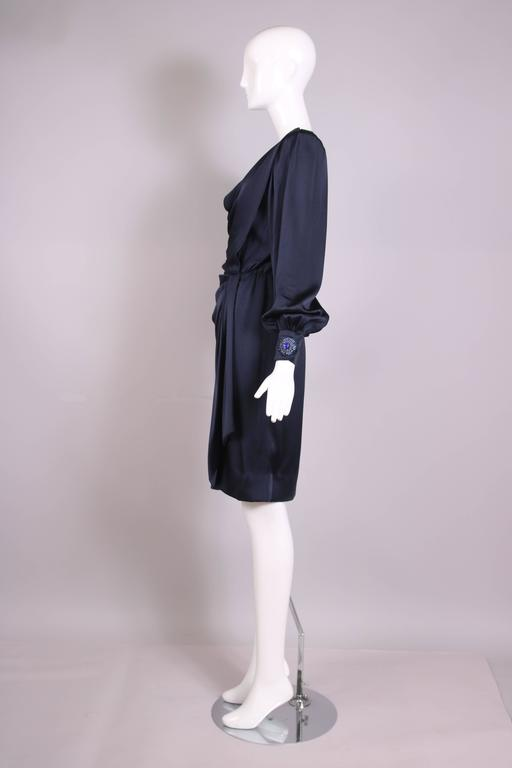 Vintage Givenchy Haute Couture Midnight Blue Silk Faux Wrap Dress No. 78026 4