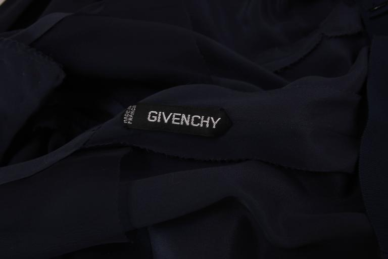 Vintage Givenchy Haute Couture Midnight Blue Silk Faux Wrap Dress No. 78026 8