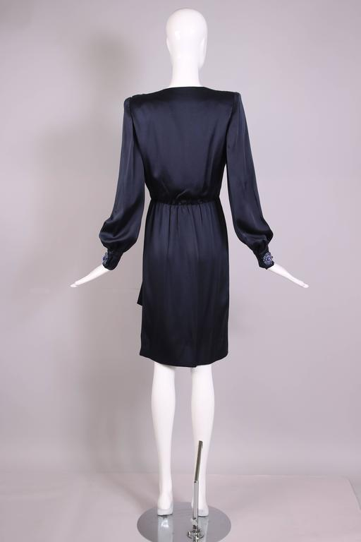Vintage Givenchy Haute Couture Midnight Blue Silk Faux Wrap Dress No. 78026 5