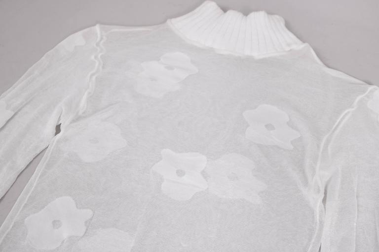 Gray Vintage Courreges Sheer Long Sleeved Mock Turtle Neck w/Abstract Floral Design For Sale
