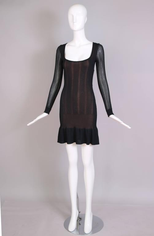 Alaia Black Sheer Stretch Viscose Long Sleeved Mini Dress W/Flounced Hem 3