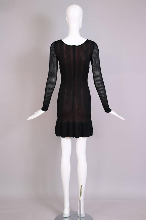 Alaia Black Sheer Stretch Viscose Long Sleeved Mini Dress W/Flounced Hem 5
