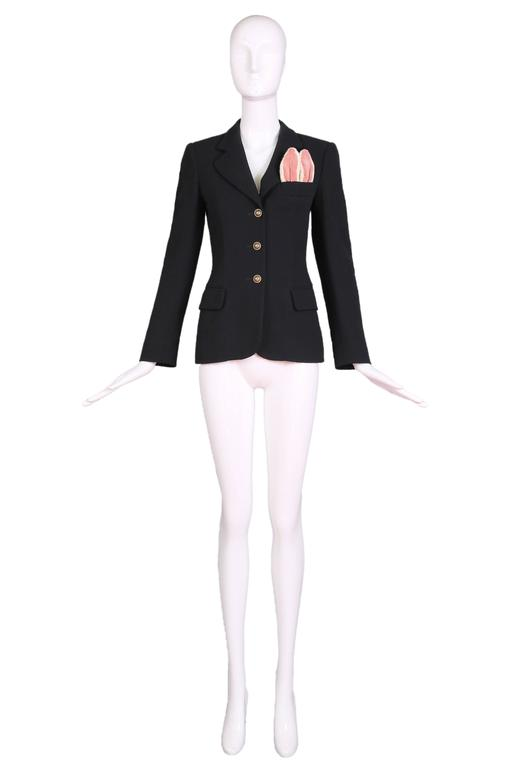 Vintage Moschino Black Wool Blazer Jacket W/Bunny Ears In Top Pocket 2