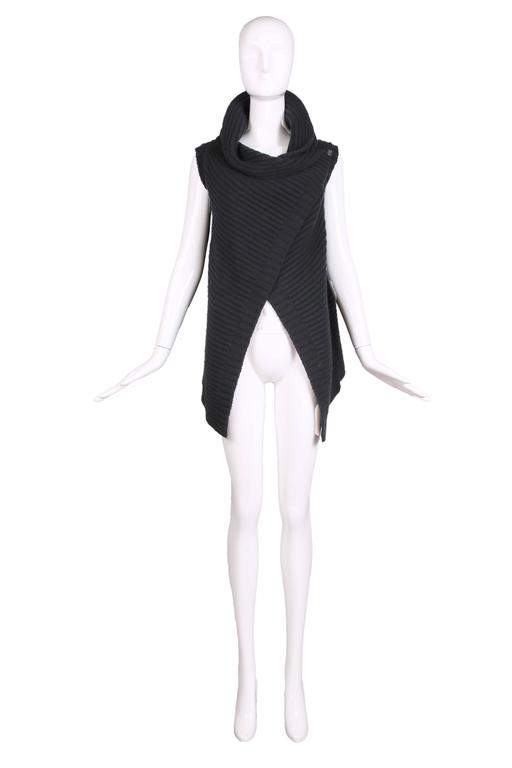Jil Sander Black Cable Knit Wrap Vest 2