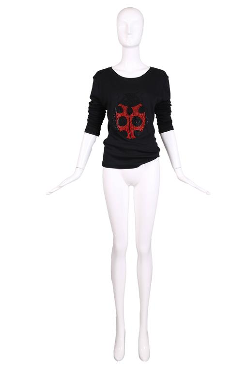 Sonia by Sonia Rykiel black cotton long sleeved t-shirt made of 100% cotton with a jeweled ladybug design at center front. Size XL. In excellent condition.