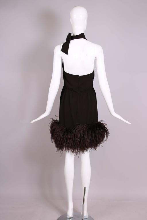 1960's Pierre Cardin Haute Couture Chiffon Cocktail Dress w/Ostrich Feather Trim 5
