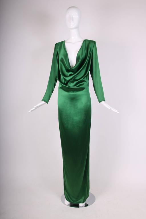 Jean Paul Gaultier Emerald Green Cowl Neck Evening Gown Ca