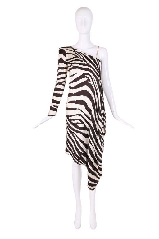 Black 1998 S/S Thierry Mugler Silk Single Shoulder Cocktail Dress w/Zebra Print For Sale