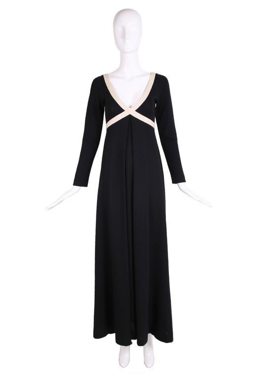 1970's Rudi Gernreich iconic black knit w/creme trim