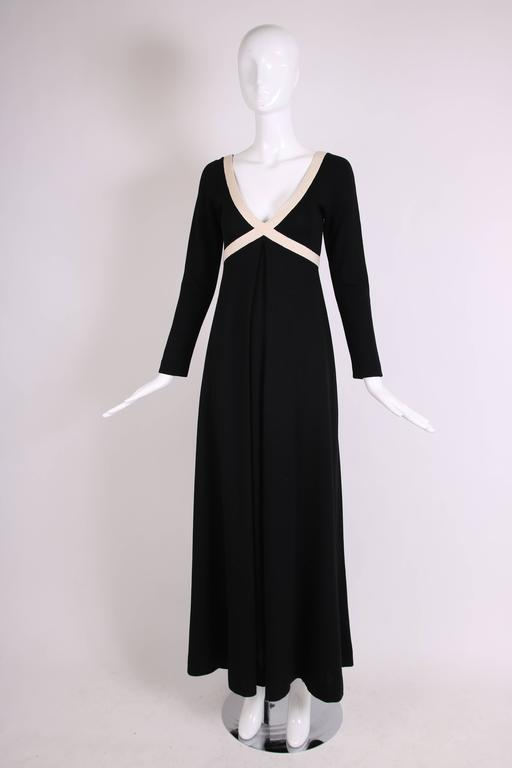 1970's Rudi Gernreich Black & Creme Knit Cross Your Heart Maxi Dress In Excellent Condition For Sale In Los Angeles, CA